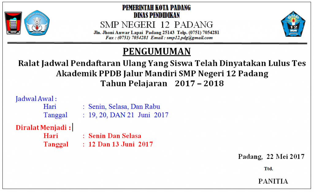 RALAT JADWAL PENDAFTARAN ULANG 2